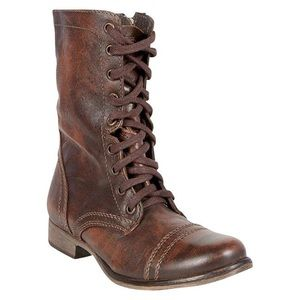 Steve Madden Troopa Brown Leather Combat Boots LaceUp Size 9